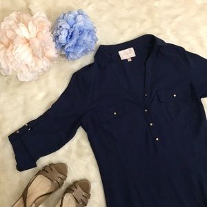 Skies Are Blue Navy Collared Blouse Gold Studs XS